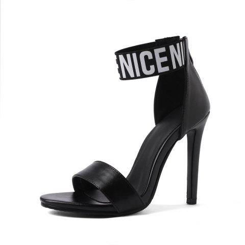 Summer Letter Back Zipper Elastic 12 Cm Stiletto Sandals - BLACK EU 38