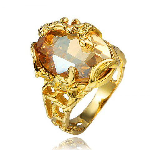 18K Gold Plated Rings Elegant Fashion Jewelry Wedding Band Gifts For Women - GOLD US 8