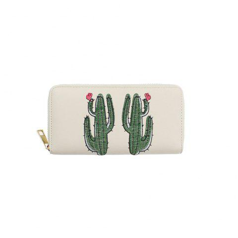 Female Leather Purse PU Zipper Green Cactus Embroidered Ladies Wallets - WHITE