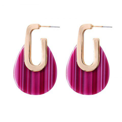Multicolor Geometric Round Earrings Personalized Alloy Temperament Earrings - MEDIUM VIOLET RED 1 PAIR