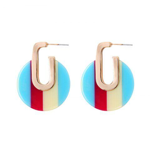 Multicolor Geometric Round Earrings Personalized Alloy Temperament Earrings - BLUE ZIRCON 1 PAIR