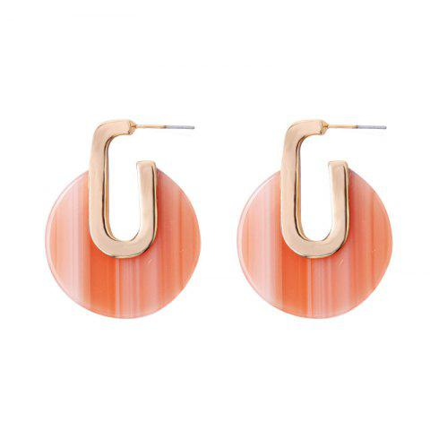 Multicolor Geometric Round Earrings Personalized Alloy Temperament Earrings - ORANGE PINK 1 PAIR
