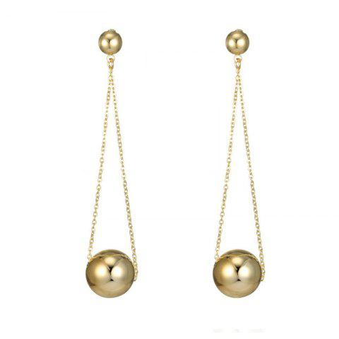Beautiful Lady's Round Ball Long Chain Earrings - GOLD