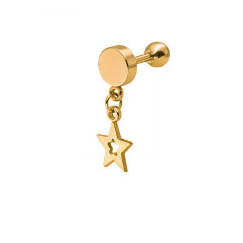 Beautiful Fashion Lady Pentagon Hollow-out Dropping Ear Nail - GOLD