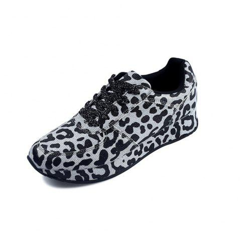 Thick-Bottomed Leopard-Print Sports and Leisure Women'S Shoes - SILVER EU 40