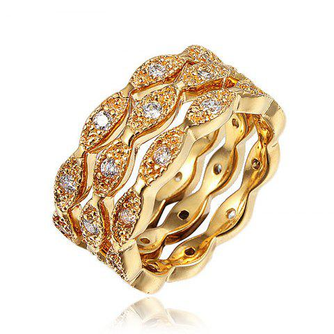Rings for Women 18K Gold Plated Wedding Rings Female Crystal Jewelry Top Quality - GOLD US 6