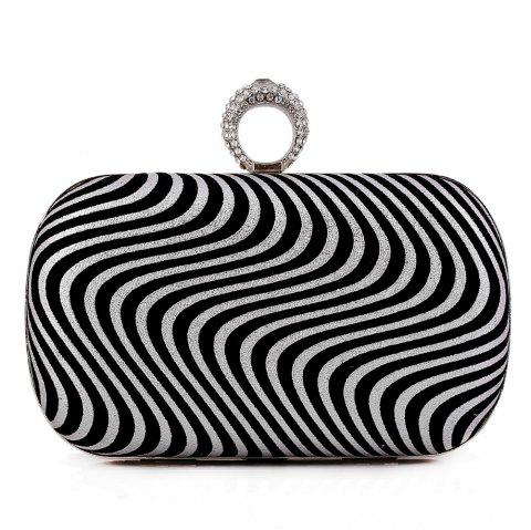 Lady Evening Bag Popular Fashion Ripple Set Auger Refers To Clasp The Hand Bag - SILVER
