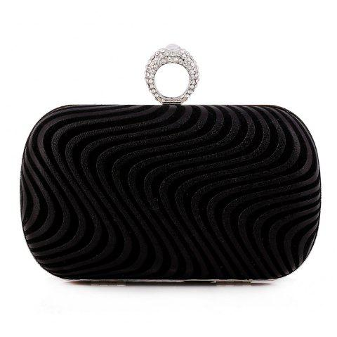 Lady Evening Bag Popular Fashion Ripple Set Auger Refers To Clasp The Hand Bag - BLACK