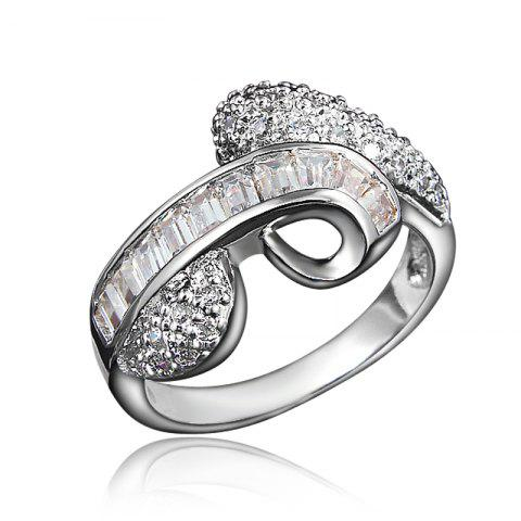 Bridal Cubic Zirconia Rings For Women Wedding Party Brand Fine Jewelry for Gift - SILVER US 7