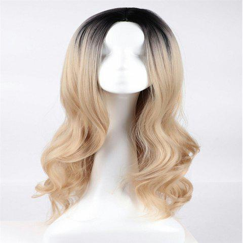 Black Gold Gradient Long Curly Hair Big Wave Curly Hair Fluffy Hair - CHAMPAGNE GOLD 50 X 17 X 5CM