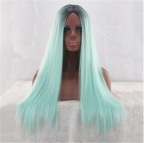 Mint Green Gradient Color in The Long Straight Hair Chemical Fiber Wig - DARK TURQUOISE 60 X 17 X 5CM