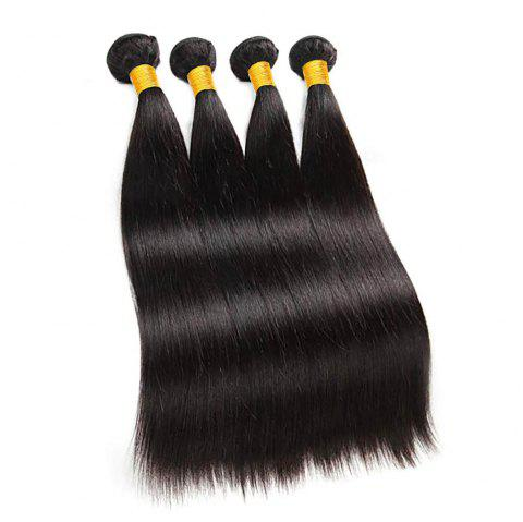 Raw Indian Hair Straight Human Hair Bundles Remy Hair Extensions - NATURAL BLACK 12INCH X 12INCH X 12INCH X 12INCH