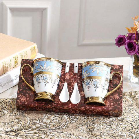 Luxury High-End Ceramic Mug Set Breakfast Milk Coffee Cup - LIGHT BLUE 2 CUP 2 SPOON