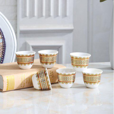 Household Ceramic Tea Cup Set Creative Luxury Golden Edge Water Cup - GOLD 6 CUPS