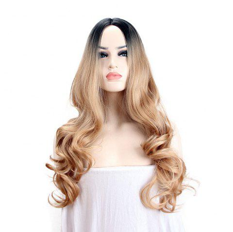 Fashion Ladies Gold Mid-Length Long Wig Wig - BRONZE