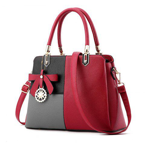Euro-American Ladies'Color Matching Handbag with One Shoulder Bag - RED WINE