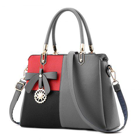 Euro-American Ladies'Color Matching Handbag with One Shoulder Bag - GRAY