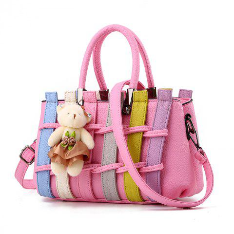 Colour Bumping Single Shoulder Bag Colour Bumping Stitching Handbag with Large L - PINK