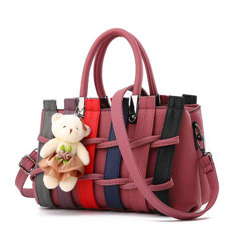 Colour Bumping Single Shoulder Bag Colour Bumping Stitching Handbag with Large L - LIGHT PINK