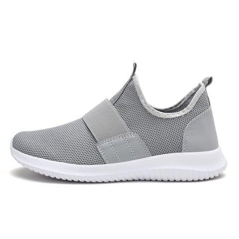 Men'S Shoes Breathable Flying Woven Mesh Shoes Tank Bottom Large Size Tide Shoes - GRAY EU 44
