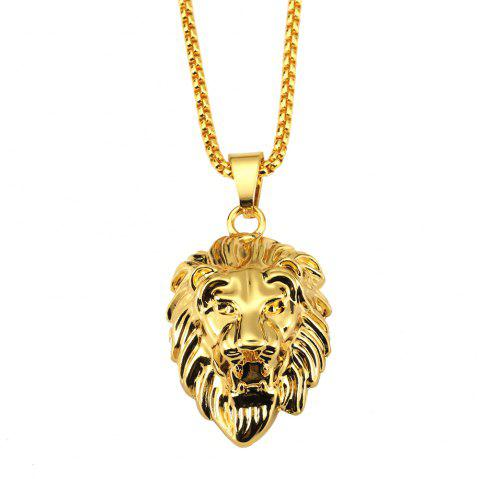NYUK Nude Lion Head Necklace Pendant Classic Hip Hop Accessories - GOLD