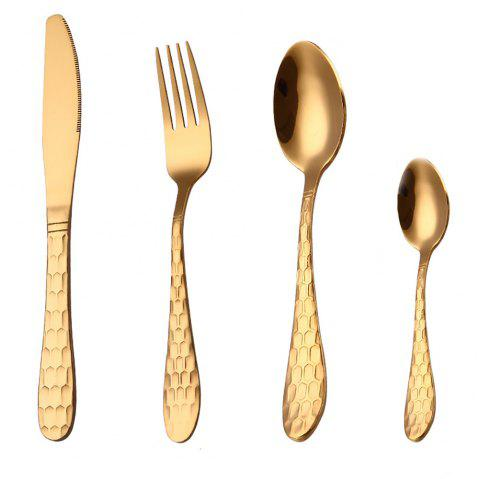 4pcs Dining Tools Set Simple Delicate Unique Stainless Steel Fork Spoon Set - GOLD