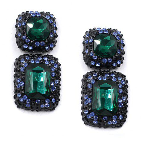 Multi-Color Ear Stud with Alloy Setting and Drilling Technology - SEAWEED GREEN