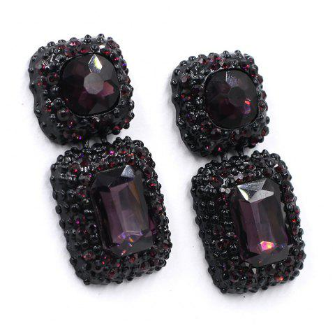 Multi-Color Ear Stud with Alloy Setting and Drilling Technology - PLUM PURPLE