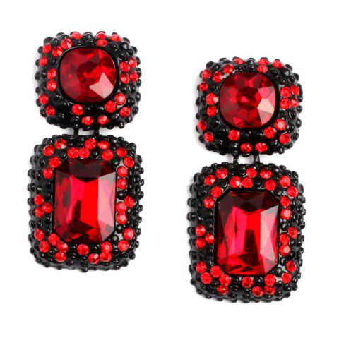 Multi-Color Ear Stud with Alloy Setting and Drilling Technology - RED WINE