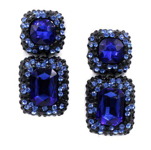 Multi-Color Ear Stud with Alloy Setting and Drilling Technology - COBALT BLUE