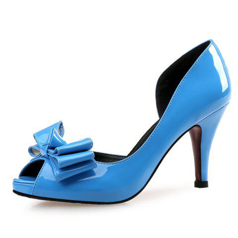 Fine with Sexy Fish Mouth Shoes Bridal Shoes Bridesmaid Shoes - BLUE EU 39