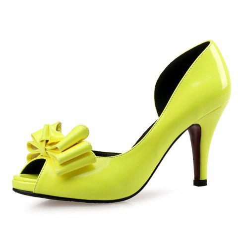 Fine with Sexy Fish Mouth Shoes Bridal Shoes Bridesmaid Shoes - YELLOW EU 36