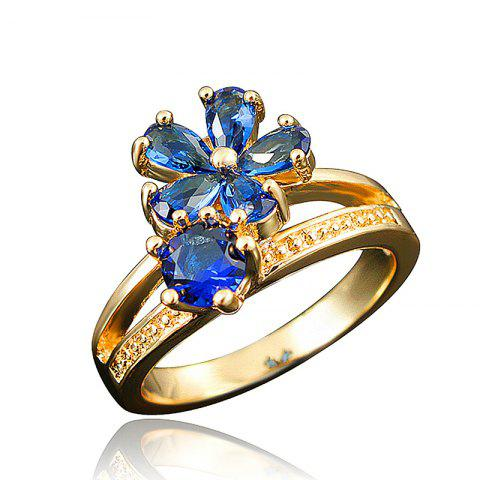 Fashion 18K Gold Plated Ring Fine Jewelry Flower Shape Ring - multicolor H US 7