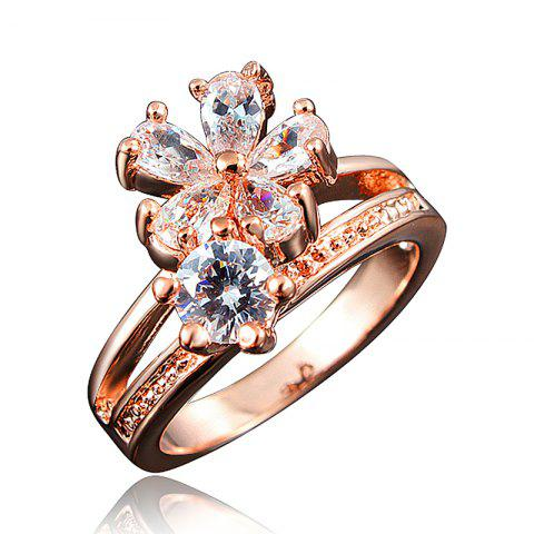 Fashion 18K Gold Plated Ring Fine Jewelry Flower Shape Ring - multicolor D US 8