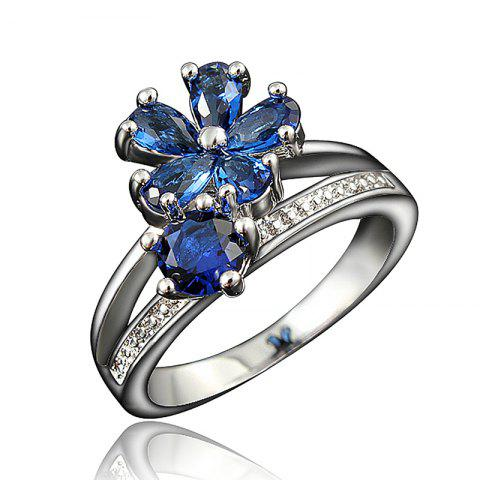 Fashion 18K Gold Plated Ring Fine Jewelry Flower Shape Ring - multicolor B US 7
