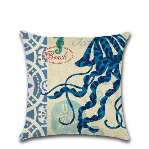 Hand-Painted Marine Coral Seahorse Starfish Conch Octopus Pillowcase - multicolor D 45*45CM