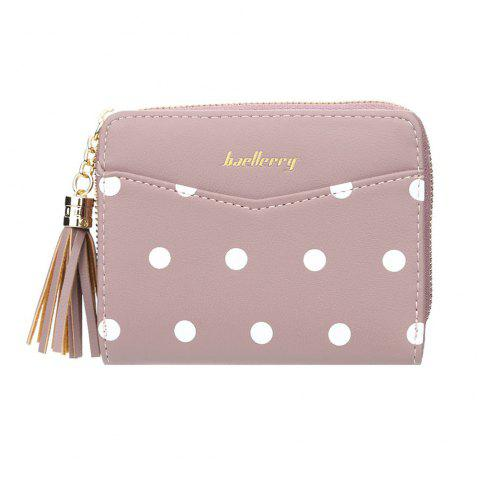 Ladies Short Wallet Simple Small Dot Wallet Tassel Zipper Multi-Card Purse - ROSY BROWN ONE SIZE