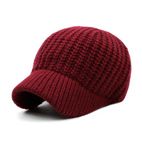 Short Brim Wool Baseball Cap + Adjustable for 56-59CM Head Circumference - RED WINE