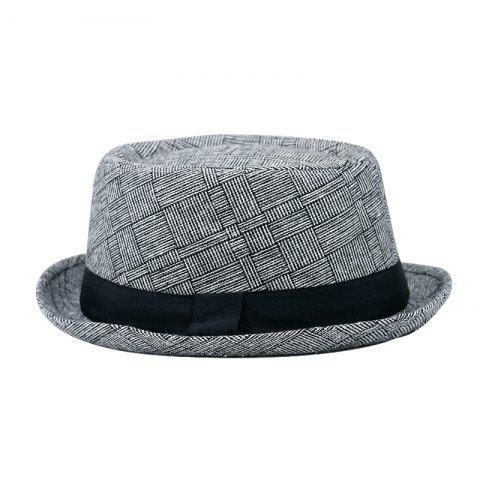 Cotton and Linen Hat Gentleman Hat + Code 58CM Head Circumference - LIGHT GRAY