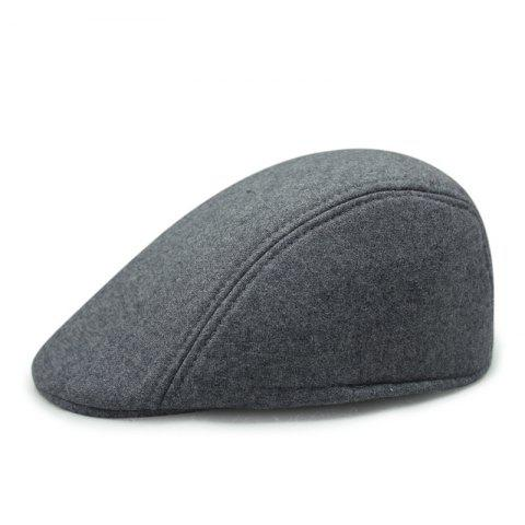 Autumn and Winter Warm Woolen Caps Simple Casual Cap + Code for 56-58CM - LIGHT GRAY