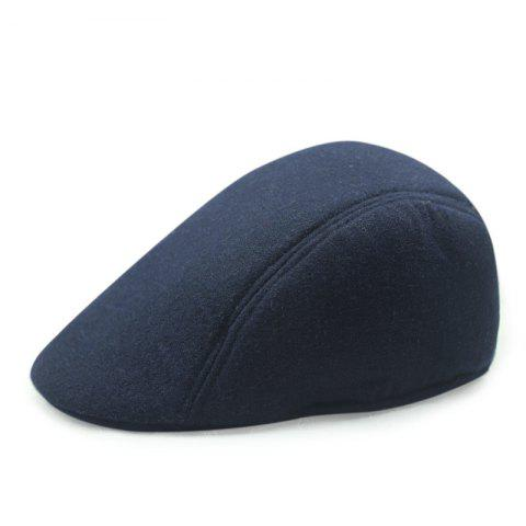 Autumn and Winter Warm Woolen Caps Simple Casual Cap + Code for 56-58CM - DEEP BLUE