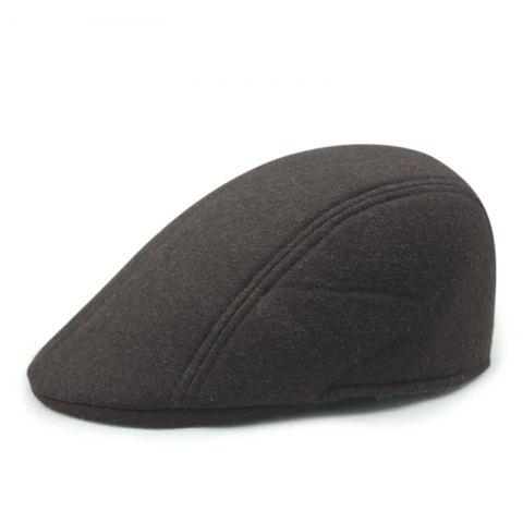 Autumn and Winter Warm Woolen Caps Simple Casual Cap + Code for 56-58CM - COFFEE