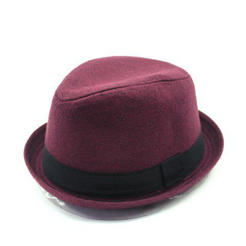 Warm Winter Woolen Top Hat + Size Code For 56-58cm Head Circumference - RED WINE