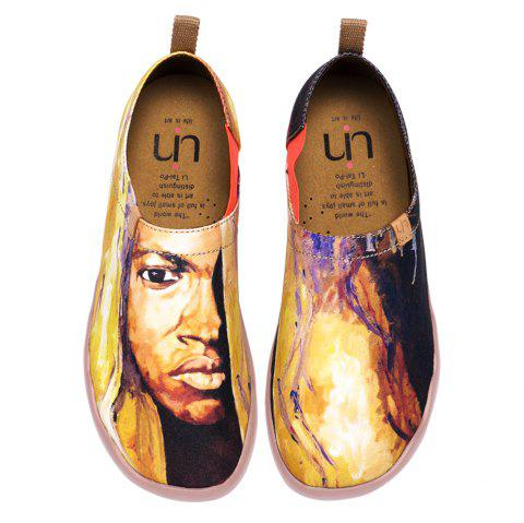 UIN Men's Painted The Soul of Africa Canvas Slip-On Art Casual Shoes - multicolor A EU 44