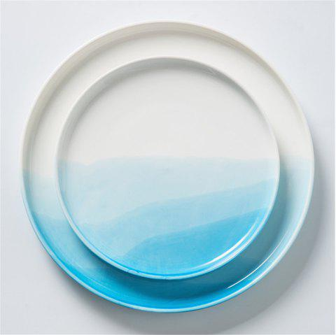 Nordic Style Gradient Color Ceramic Dish Desserts Steak Food Plate Dinnerware - DAY SKY BLUE 10 INCHES