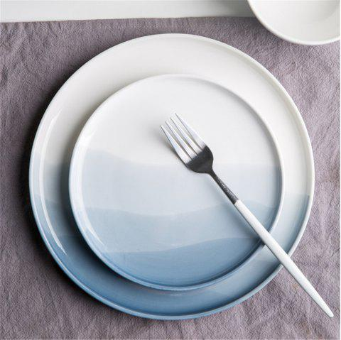 Nordic Style Gradient Color Ceramic Dish Desserts Steak Food Plate Dinnerware - BLUE GRAY 10 INCHES