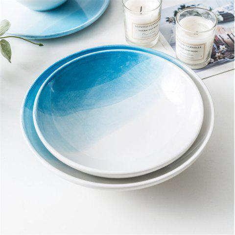 Modern Brief Style Gradient Color Ceramic Salads Food Dish Kitchen Appliances - DAY SKY BLUE 8 INCHES