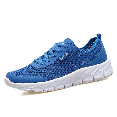 Men'S Breathable Mesh Openwork Flat Hole Shoes - BLUE EU 36