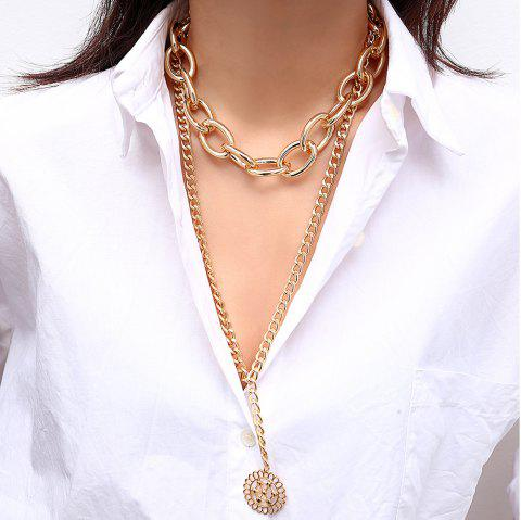 Multi Layer Flower Card Hollow Pendant Necklace - GOLD 1PC