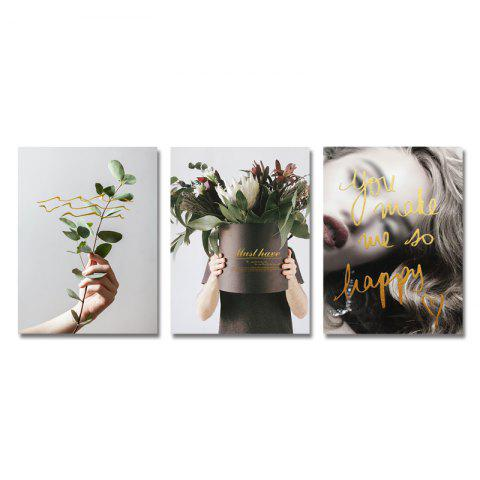 DYC 3PCS Potted Plants and Sexual Women Print Art - multicolor